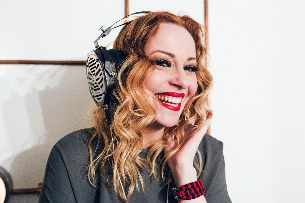 Erzetich Phobos headphones on woman
